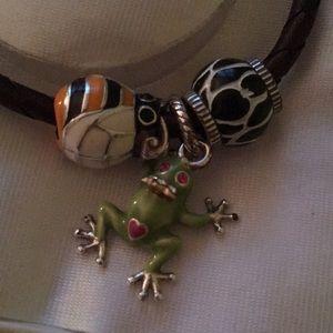 Brighton Jewelry - Brighton leather bracelet with 3 charms